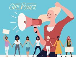 girl power, woman announcer with megaphone and group women holding hands vector