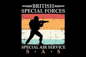T-shirt silhouette secial forces retro vintage style vector