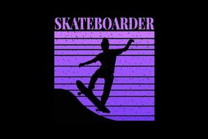 T-shirt silhouette skateboarder purple design vector