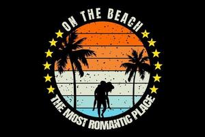 T-shirt silhouette romantic couple on the beach vector