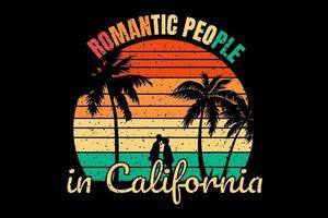 T-shirt beach silhouette romantic people in california vector