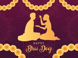 happy bhai dooj with indian woman and man silhouette with flowers vector design