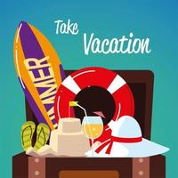 summer vacation travel, surfboard suitcase hat sandals card vector