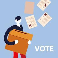 election day, man with box and ballots voting vector