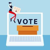 election day, woman with ballot sitting on laptop online voting vector