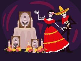 dia de muertos, catrina esqueleto altar con fotos velas y flores, celebracion mexicana vector