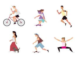 people different activities include riding bike, walk, run and others outdoor vector