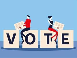 election day, people with vote ballot on vote lettering vector