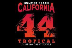 T-shirt summer beach california tropical surf vintage gradient vector