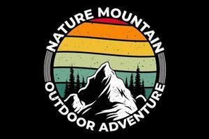 T-shirt nature mountain outdoor adventure retro style vector