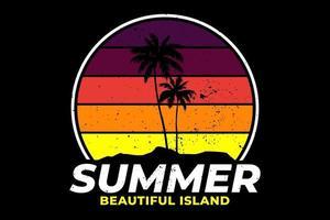T-shirt summer beautiful island retro style vector