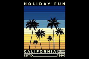 T-shirt holiday fun california surf beautiful sunset design vector