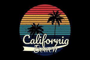 T-shirt sunset california beach retro design vector