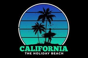 camiseta california vacaciones playa surf verano hermoso diseño retro vector