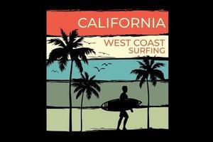 T-shirt california beach west coast surfing retro vintage style design vector