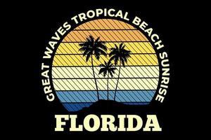 camiseta grandes olas playa tropical amanecer florida estilo retro vector