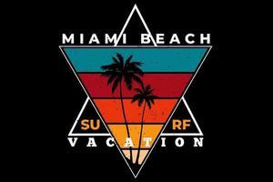 camiseta miami beach surf vacaciones retro vector