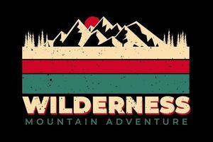 T-shirt wilderness mountain adventure vintage retro style vector