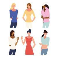 set of women cartoons vector design