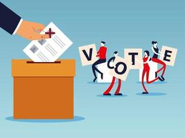 election day, people with vote letters, hand with ballot in box vector