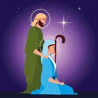 nativity, joseph and mary, shining star on purple background vector