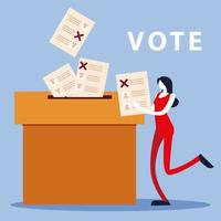election day, woman with ballot and ballots in cardboard box vector