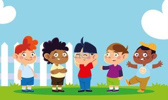 childrens day, group little boy standing with fence in the yard vector