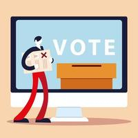 election day, person with ballot computer voting box vector
