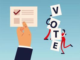 election day, hand with ballot and people with vote word vector