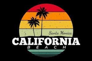 T-shirt retro california beach santa monica vector