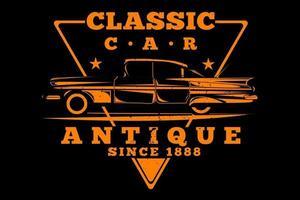 T-shirt classic car antique vintage style vector