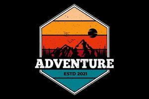 camiseta aventura montaña estilo retro vector