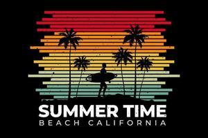 T-shirt line retro style summer time beach california vector