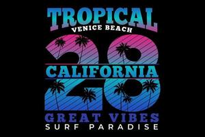 T-shirt tropical california vibes surf paradise vintage style vector
