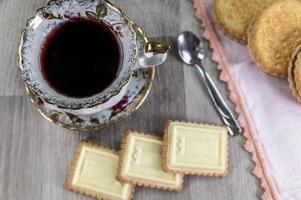 combinación de comida con té foto