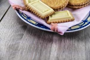 combination of food with biscuits photo