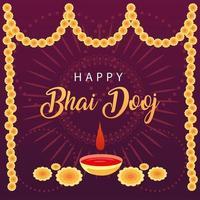 happy bhai dooj with yellow flowers bindi drop and bowl vector design