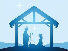 nativity, bright silhouette Mary Joseph and baby Jesus manger vector