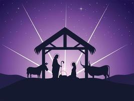 nativity, Joseph Mary baby Jesus manger and glowing star vector