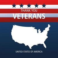 happy veterans day, silhouette map on american flag vector