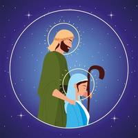 nativity, holy mary and joseph characters round portrait vector