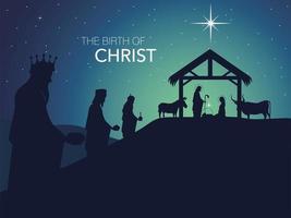 natividad, celebración tradicional pesebre con sagrada familia y reyes magos, nacimiento de cristo vector