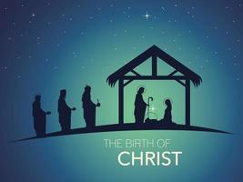 nativity scene of baby Jesus in the manger with Mary and Joseph in silhouette with wise men vector