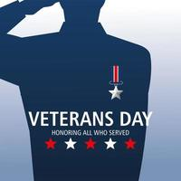 happy veterans day, soldier salute with medal vector