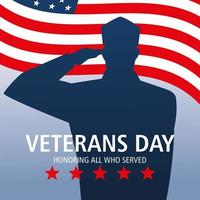 happy veterans day, american flag and soldier salute vector