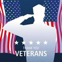 happy veterans day, silhouette soldier and US flags vector