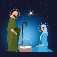 nativity, manger sacred family traditional celebration religious vector