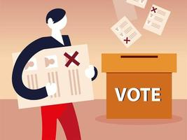 election day, cardboard box many vote ballot and man with paper vector