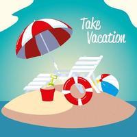 summer vacation travel, deck chair lifebuoy ball and umbrella beach vector