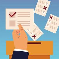 election day, hand holding ballot and papers in box vector